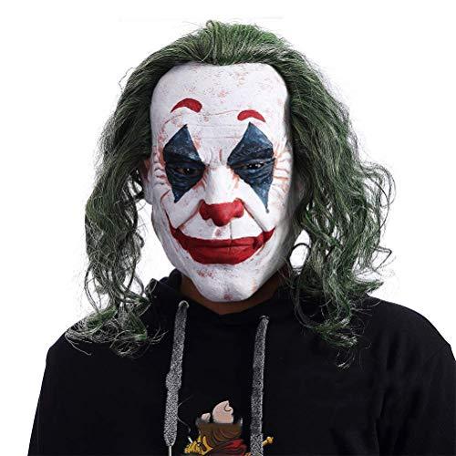Las mscaras de Halloween son horribles y emociona Joker Mask Movie Batman The Dark Knight Cosplay Horror Horry Scary Payaso Mscara con peluca de pelo verde Halloween Mscara de ltex Disfraz de fies