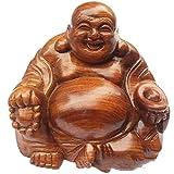 KKUUNXU Sculpture en Palissandre Maitreya Bouddha Ornements en Bois Massif Gros Ventre riant Bouddha Accessoires pour la Maison Salon Acajou Artisanat