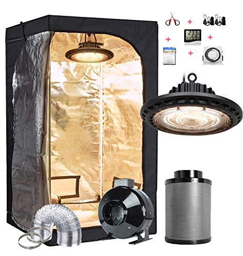 TopoGrow Grow Tent Kit Complete Package Setup UFO LED 300W Grow Light+4' Fan Filter Ventilation Kit +32'X32'X63' Grow Tent +Hydroponics Indoor Plants Accessories Growing System