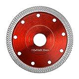 UTRUGAN Disco de Diamante para Porcelanico Disco de Corte de Diamante Hoja de Sierra Circular en Seco con Corte Húmedo para Cortar Azulejos, Piedra Natural, Amoladora Angular (Rojo, 115 mm)