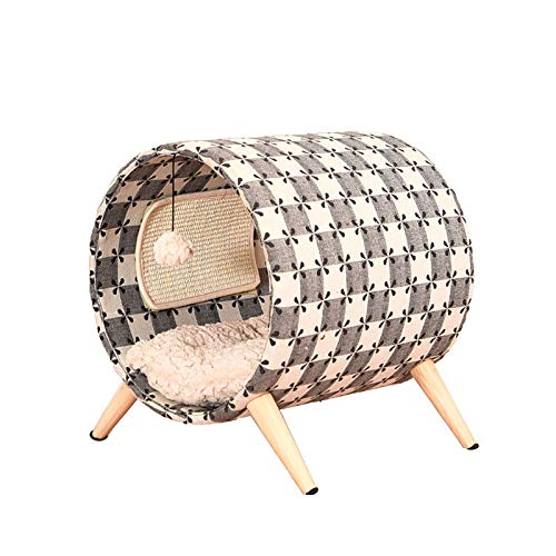 Pet Tent Cave Bed for Cats Dogs, Cat Condo with Wooden Legs Cat Tunnel Bed Cat Furniture Scratching Post with Washable Cushion for Kittens Cat Puppy Rabbit