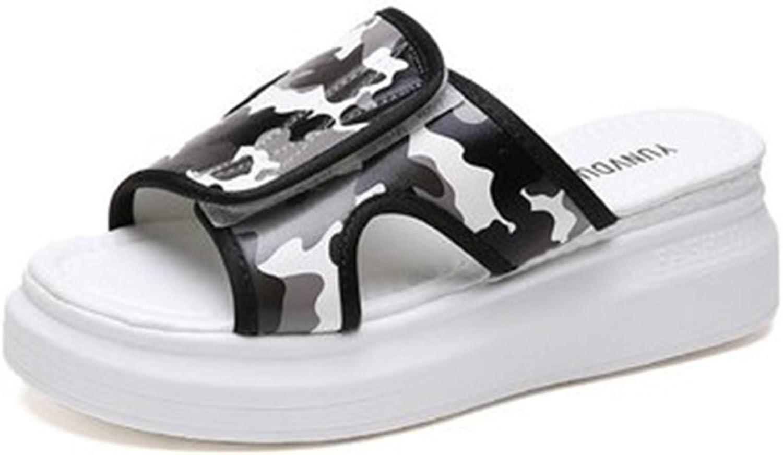 GIY Women's Fashion Summer Beach Platform Slide Sandals Open-Toe Outdoor High Heel Camouflage Wedge Sandal
