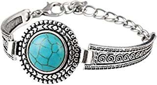 Noopvan 1x Fashion Retro Creative Turquoise Bracelet Silver Plated Alloy Adjustable Bracelet Men Women Jewellery 13+6CM (Blue)