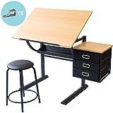 Stationery Island Caye Table à Dessin pour l'art et l'Artisanat – Bureau à Dessin Inclinable avec Rangement, Tabouret et Pinces