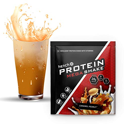 Hench Protein Mega Shake - 20g Protein - Low Sugar - 9 Vitamins (Caramel Peanut, 6 x 30g)