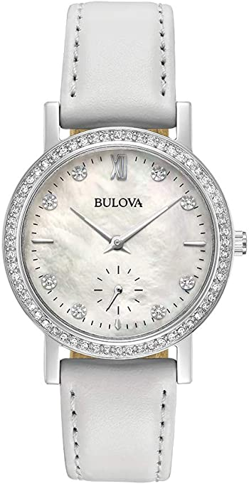 Bulova Women's Quartz Watch Metal Bracelet analog Display and Leather Strap, 96L245