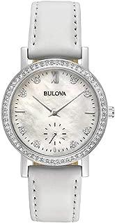 Bulova Women's Quartz Watch Metal Bracelet analog Display and Leather Strap, 96L245