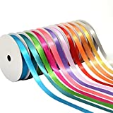 BakeBaking GHRD Satin Ribbons, 12 Rainbow Assortment Rolls Variety Pack for Gifts Wrap Craft Fabric Wedding Decorations, Fashion Collection Glow, Assorted Solid Bright Colors