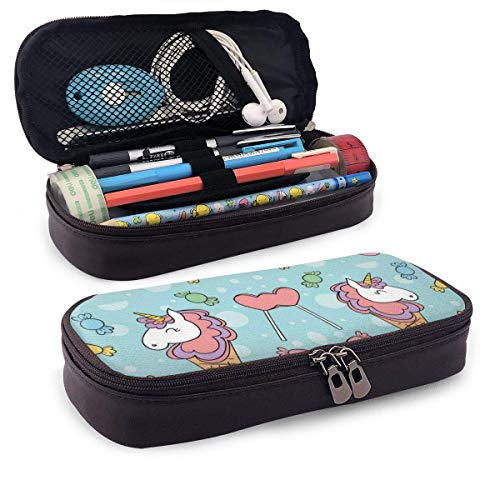 Lawenp Cartoon Popsicle Leather 3D Nano Printed Pencil Case Pouch Zippered Cute Pen Pencil Case Box School Supply for Students,Big Capacity Stationery Box for Girls Boys and Adults