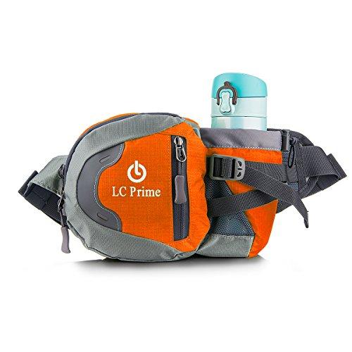 LC Prime Waist Pack Pack Bum Bag Hip Pack Running Bag Waist Bag Running Belt Sack Water Resistant with Bottle (Not Included) Holder for Hiking Camping Dog Walking nylon fabric Orange