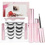 Magnetic Eyelashes with Eyeliner 5 Pairs Reusable Fake Eyelashes No Glue 2 Only Magnetic Eyeliner 3D eyelash sets (Girl Pink)