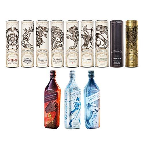 Game of Thrones Whisky Komplettsammlung Single Malts + Johnnie Walker White Walker + Fire & Ice, Sammelset, Whiskey, Alkohol, 12 x 700 ml
