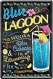 Blue Lagoon Cocktail receta azul Curacao vodka limón 20 x 30 cm Bar Party sótano decoración cartel chapa 534