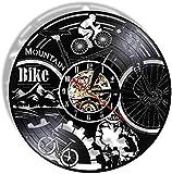 zgfeng Reloj de Pared de Vinilo Bicicleta de montaña Artista de Bicicleta de montaña Decoración silenciosa del hogar Regalo de Bicicleta de Aventura-con LED