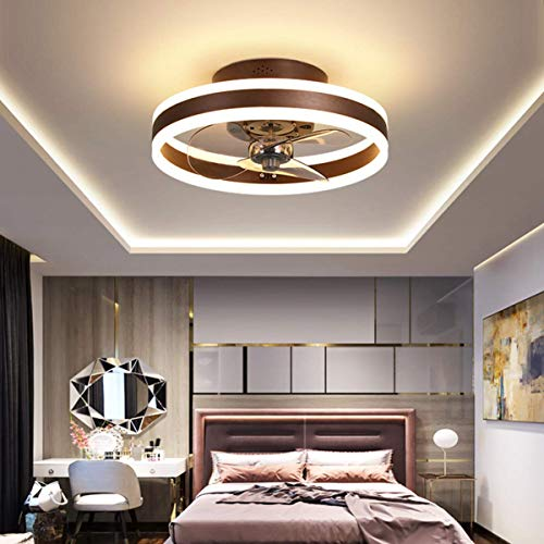 Ventilador de techo de Ø40 cm con luces y control remoto, luz de techo moderna con atenuación de LED de 24 W, iluminación de ventilador silenciosa para sala de estar, marrón