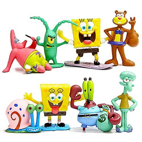 JPYZ Aquarium-Ornamente Sponge Squarepants,süße Sponge Cartoon-Puppen Kuchendekoration,Ornament, Auto-Ornament, Kinder, Geschenk für Urlaub, 8 Stück