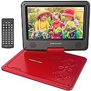 DBPOWER 9.5'' Tragbarer DVD-Player mit Wiederaufladbarer Batterie, Schwenkbaren Bildschirm, Unterstützt SD-Karte und USB, mit Spiele-Joystick, Auto-Ladegerät-Rot