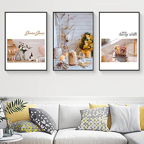 vbewuvbiewv 3 uds, Botella de Vino romántica nórdica, Flores de Cristal, Lienzo Moderno, Impresiones, póster, imágenes artísticas de Pared, Comedor, Sala de Estar, decoración del hogar