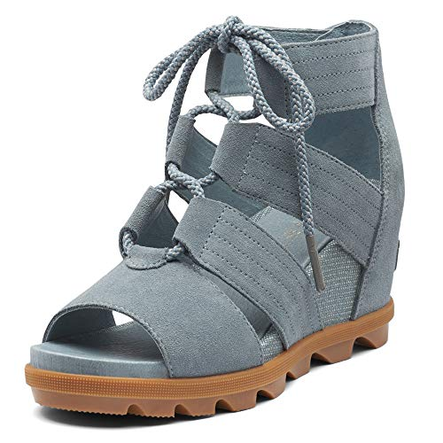 Sorel - Women's Joanie II Lace, Leather or Suede Sandal with Wedge Heel, Cinder Grey, 7.5 M US