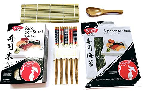 Sushi Kit - Riso per Sushi Biyori 1 kg + Alghe Nori per Sushi 25 g + 1 tappetino in bambù + 5 paia di bacchette + 1 spatola per riso