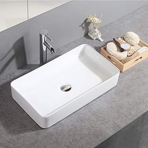 Gimify Lavabo Sobre Encimera de Baño Lavabo Porcelana Blanca, 60x34x10,5cm