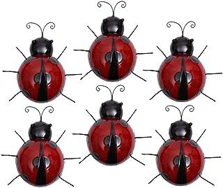 Perfk 6Pcs Ladybird Model Wall Art Wall Arts Ladybug Outdoor Garden Decor Red