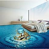 Personalizado Creativo 3D Estéreo Océano Azul Anillo De Diamantes Piso Pintura Decorativa Pegatinas De Piso 3D Impermeable Antideslizante Autoadhesivo-400X280Cm Azulejos De Suelo 3D Murales Pegatina