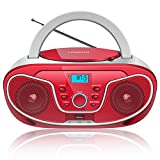 LONPOO Portable Sport Stereo CD Player with FM Radio, Bluetooth MP3/CD Player Boombox with Aux Line-in & USB & Headphone Jack