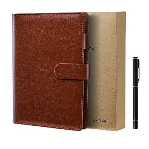 CHIDUAN Taccuino A5 in Pelle - Quaderno Riutilizzabile, Notebook Rigato/Classico con Tasca e Portapenne, 100 fogli di carta da 100 gr (A5 Marrone)