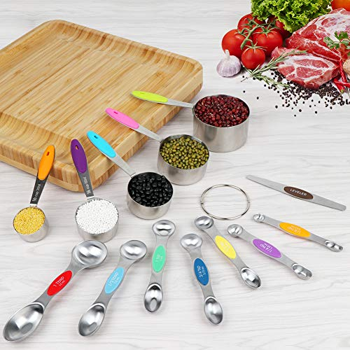 OurWarm 13Pcs Measuring Cups and Spoons Set Stainless Steel Stackable Dual Sided Magnetic Measuring Spoons with Leveler Spoon Measurement Set for Dry and Liquid Ingredient Multicolor