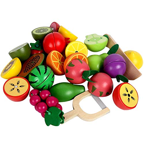 NA2 Pretend Play Fruit Vegetable Food Cutting Set Reusable Role Play Pretend Kitchen Kids Toy Food Toy Cutting Fruit Toy Kitchen Toy