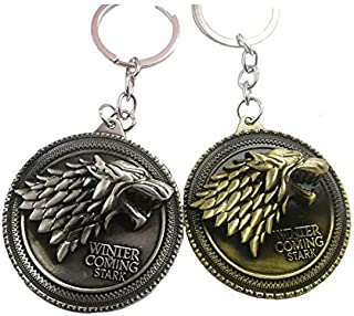 Reddream Game of Thrones House Stark Keychain Pendant Charms Gifts for Boy Girl Best Friend and Collection (Keychain-Stark 2 PCS)