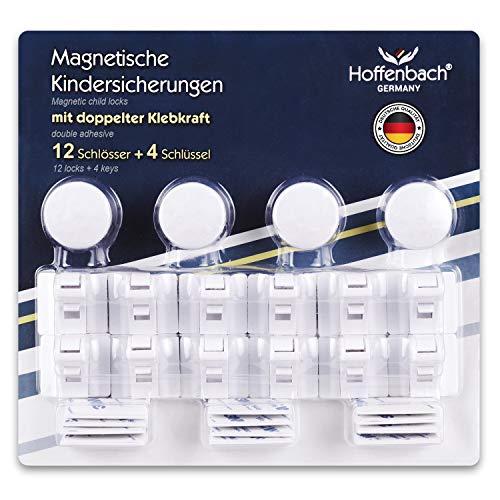 Magnetische Kindersicherung Schrank Hoffenbach® | 12+4 | Unsichtbare Schranksicherung 3M zum kleben | Schubladensicherung für Baby und Kinder |100% Sicherheit
