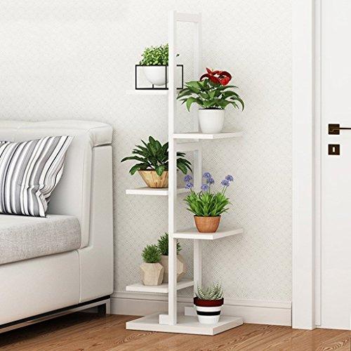 Étagère à fleurs décorative Étagère à plantes Présentoir à plantes en métal Pot à l'extérieur/à l'intérieur 6 Pots à fleurs en fer blanc Cadre pour salon Garden Office 30x30x122cm