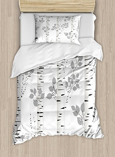 Ambesonne Birch Tree Duvet Cover Set, White Branches with Leaves Autumn Nature Forest Inspired Image Print, Decorative 2 Piece Bedding Set with 1 Pillow Sham, Twin Size, White Grey