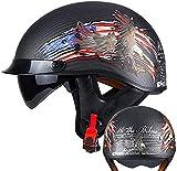 MAMAO Open Face Retro Motorcycle Carbon Fiber Helmet, Vintage Half Helmet with Sun Visor and Goggles Summer Four Seasons Breathable Jet Helmet for Couple Adults Men Women DOT Certified