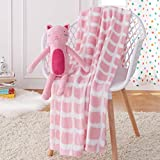 Amazon Basics Kids Pink Kitties Patterned Throw Blanket with Stuffed Animal Cat