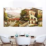 KWzEQ Natürliche Blumenlandschaft des Landhausschlossölgemäldes auf Leinwandwandkunsthausplakat,Rahmenlose Malerei,30x60cm