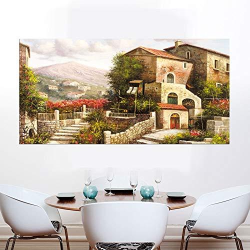 BailongXiao Casa de Campo Castillo Pintura al óleo Flores Naturales Paisaje sobre Lienzo Pared Arte casa Cartel,Pintura sin Marco,30x60cm