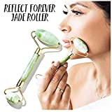 Reflect Forever Jade Roller Facial Skin Massager for Shrinking Pores and Reducing Wrinkles - Original Natural Jade