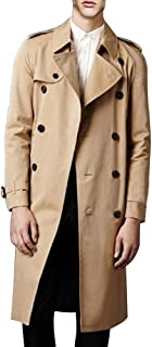 LINGMIN Men's Double Breasted Trench Coat Casual Lapel Long Sleeve Windbreaker Jacket