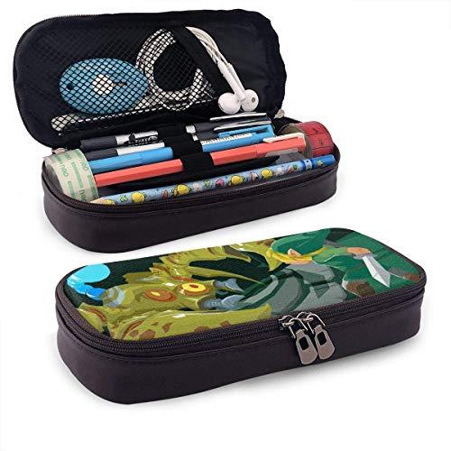 Zelda Phantom Hourglass - Estuche para lápices de cuero sintético con cremallera, bolsa para estudiantes de secundaria, escuela, colegio, oficina, niñas, niños, adultos, bolsa de almacenamiento,