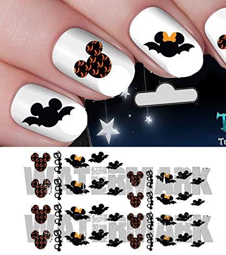 Nageldesign-Set #h5 mit Halloween-Motiven, gruselig, Disney Micky Maus & Minnie Maus-Fledermäuse