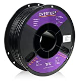 OVERTURE TPU Filament 1.75mm Flexible TPU Roll Soft 3D Printer Consumables, 1kg Spool (2.2 lbs), Dimensional Accuracy +/- 0.05 mm, 1 Pack (Black)