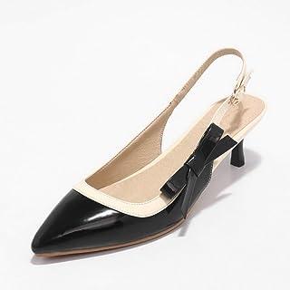 BalaMasa Womens ASL06378 Pu Block Heels