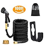 HaiHC black Garden Hose Expandable 100FT With 8 Function Nozzle With Brass Valve