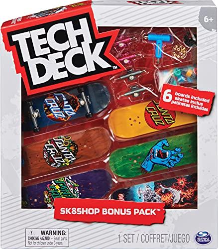 Tech Deck 6028845 Sk8Shop Bonus Pack - Fingerboard-Set mit 6 authentischen Boards und Zubehör (Zufallsauswahl - Sortierung mit verschiedenen Produkten)