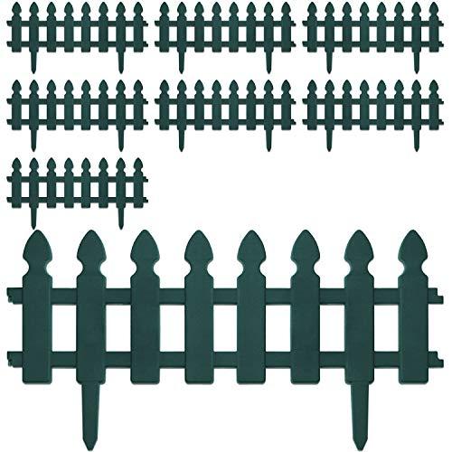 8 Stück Beeteinfassung, in 2 Farben verfügbar, Gartenzaun Lattenzaun Dekozaun Zierzaun Kunststoffzaun, Farbe:Grün