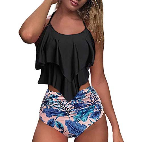 Damen Bikini Set Sommer Badeanzug mit Sport Strandkleidung Triangel Bikinihose -Sexy Bademode Strandwear Strandmode -Bikinioberteil High Waist Sportlich Bauch FüR Mä Dchen Teenager,Rosa,S