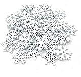 TheStriven 100 Piezas 3,5 cm Adornos de Copos de Nieve Blancos de Madera Copos de Nieve Copos de Nieve de Madera Blanca de Navidad para Adornos Colgantes de árbol de Navidad de año Nuevo